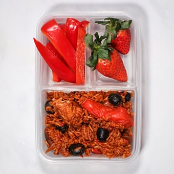 Leftover chicken and rice healthy lunch idea for work