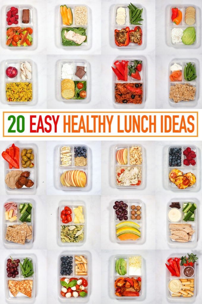 healthy lunch ideas shown in individual compartment lunch boxes