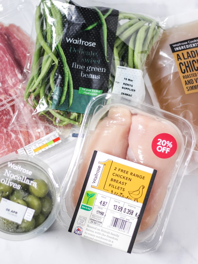Waitrose ingredients for Chicken wrapped in bacon recipe