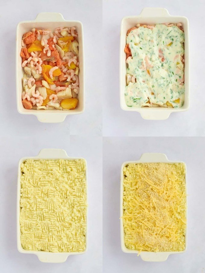 Four stages of building a fish pie from raw