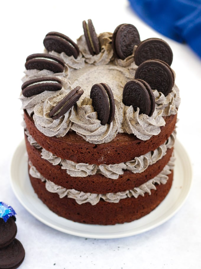 Oreo Cake Chocolate layer cake with cookie icing