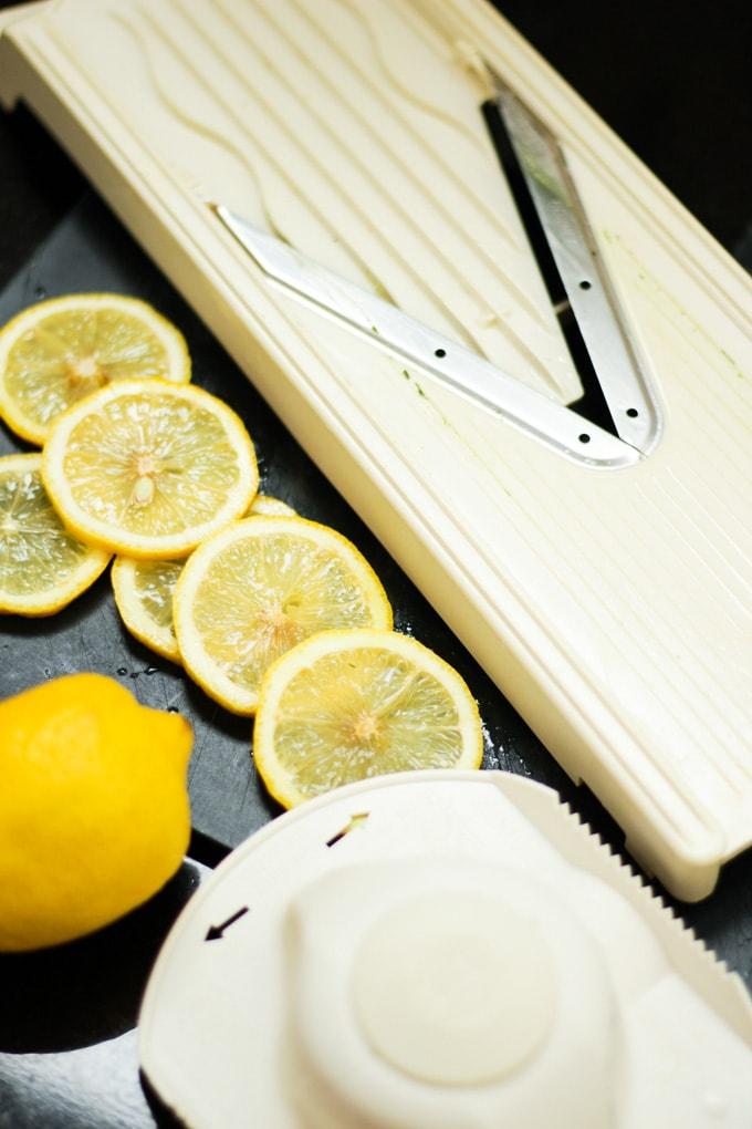 Mandolin with lemon slices
