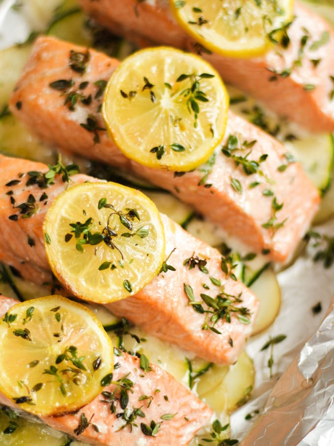 Easy baked salmon in foil one pan meal