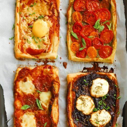 Easy puff pastry tarts with tomatoes, cheese, goats cheese, caramelised onions and bacon