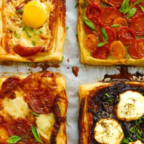 Easy tarts with ready made pastry, goats cheese and tomatoes