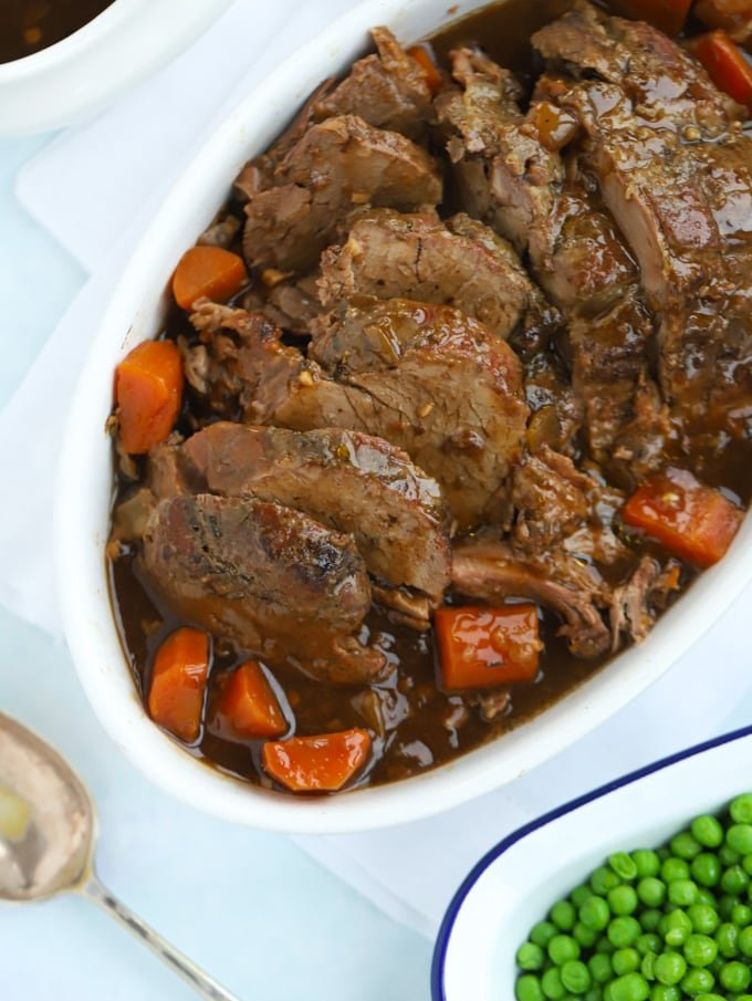 Slow Cooked Topside Beef Joint with vegetables