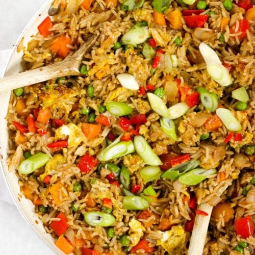 Egg fried rice with spring onions, peppers, onions and chilli