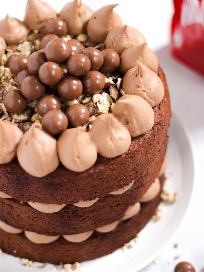 Malteaser Cake with 3 layers sandwiched with malt chocolate icing