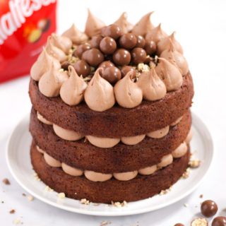 Chocolate Malteser cake with Malteasers in background