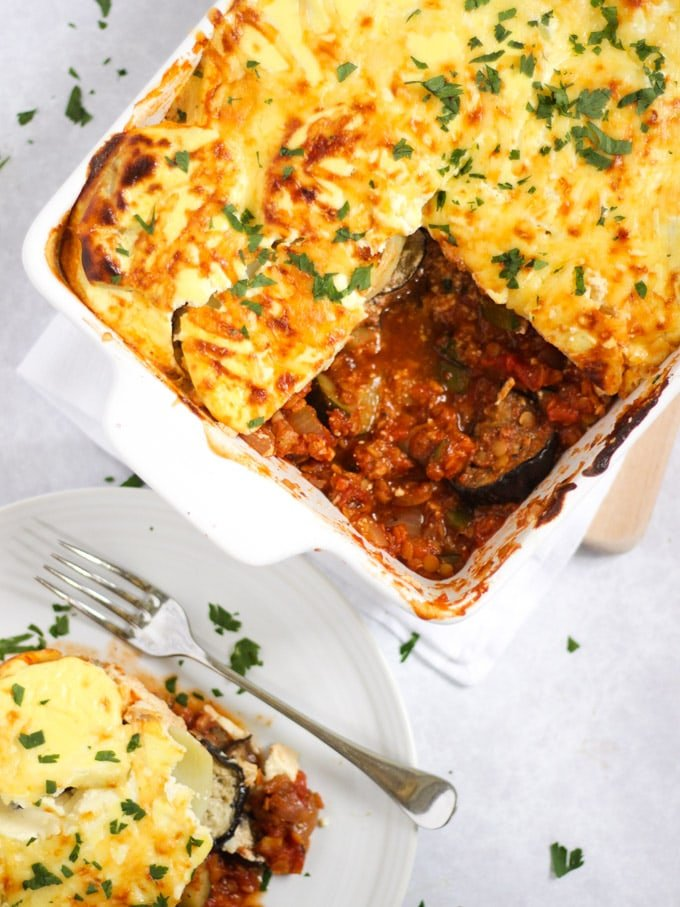 Vegetable Moussaka with slice on a plate and fork