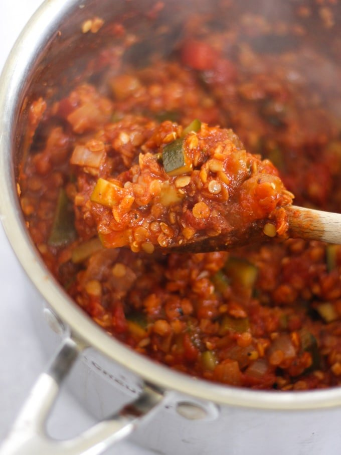Lentil ragu mixture in a saucepan