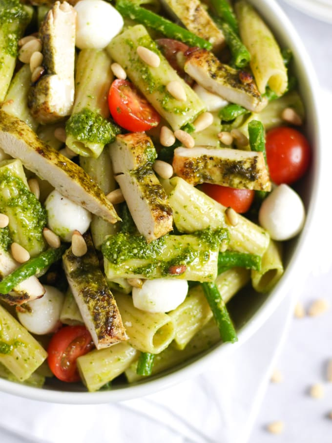 Chicken pesto pasta salad with veggies and cheese