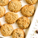 Baking tray with Oatmeal raisin cookies on