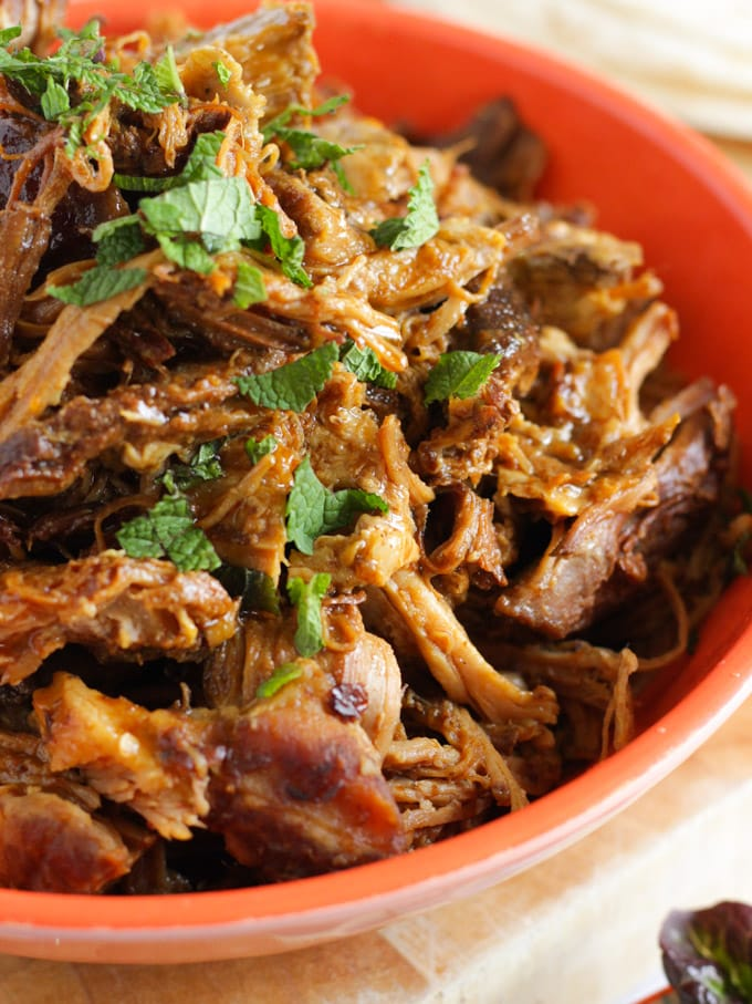 Simple pulled pork in a red dish.