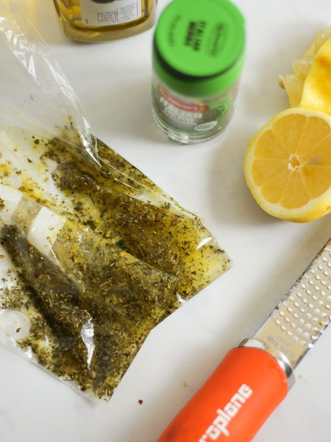 bag of lemon and herb marinade
