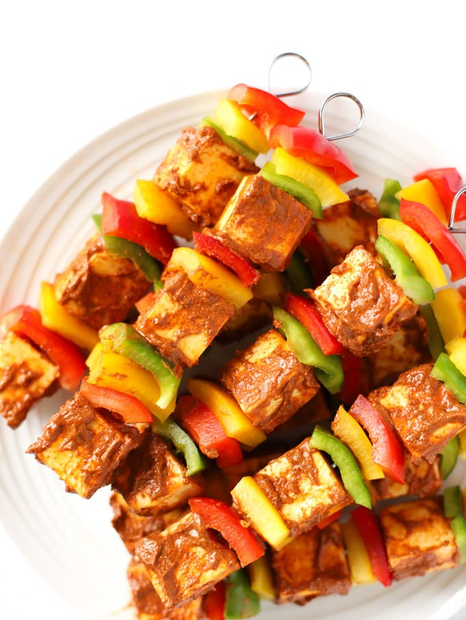 Skewers of spiced peppers and Indian curd cheese