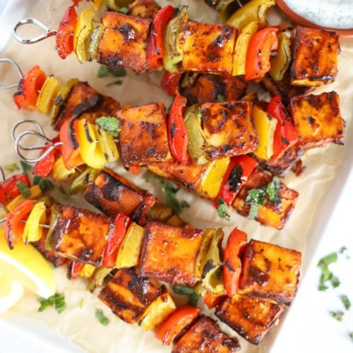 Paneer tikka kebabs with peppers and tandoori spices