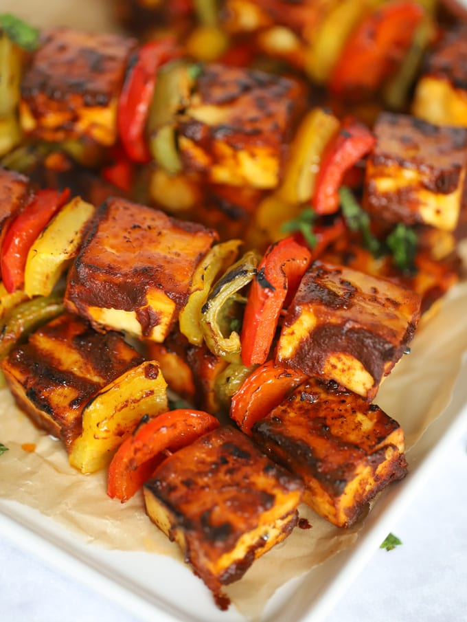 Indian Tikka Paneer skewers with capsicum and mint
