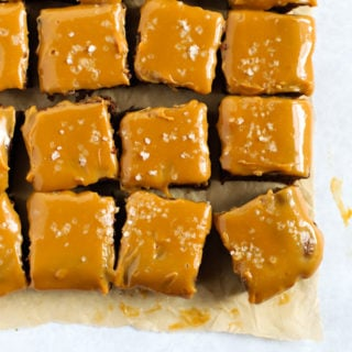 Chocolate brownies topped with caramel and sea salt