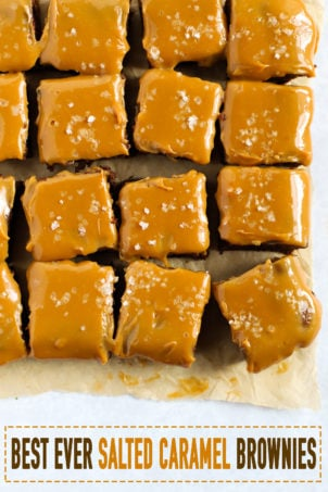 Easy to make salted caramel brownies with chocolate and sticky caramel sauce