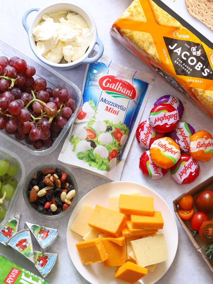 Ingredients for a kids' snack platter