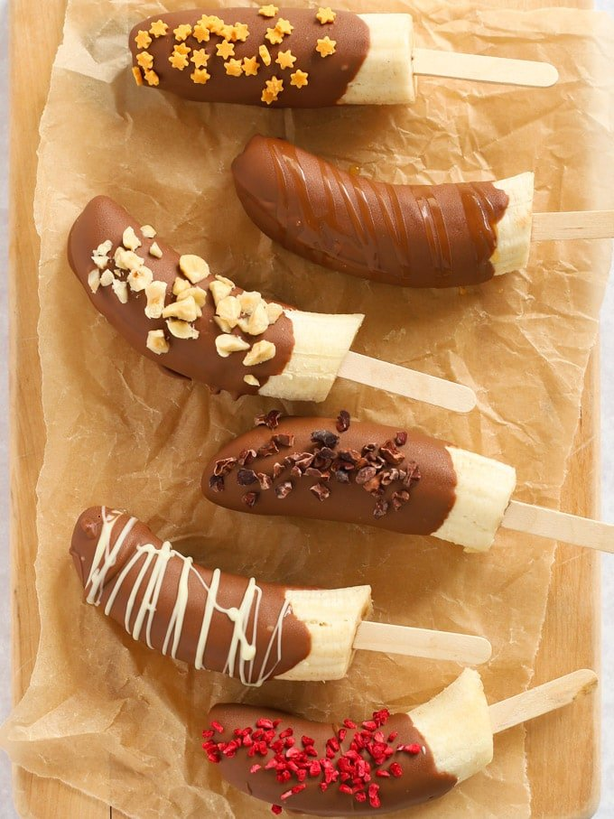 Frozen Banana lollies with chocolate and sprinkles