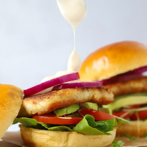 Easy Halloumi burgers in a brioche bun with sweet chilli mayonnaise sauce