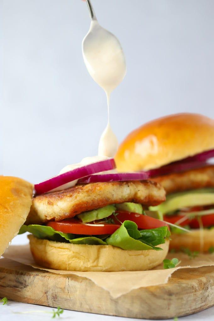 Easy Halloumi burgers in a brioche bun with sweet chilli mayonnaise sauce