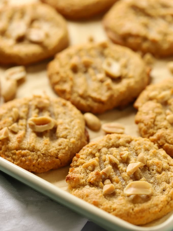 Freshly cooked nut biscuits on a baking tray
