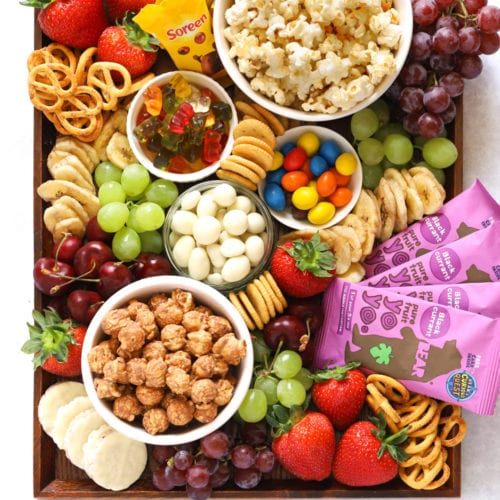 How to make a movie snack board for kids with popcorn, treats and fruit