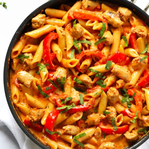 Easy spicy sausage pasta bake recipe in a frying pan