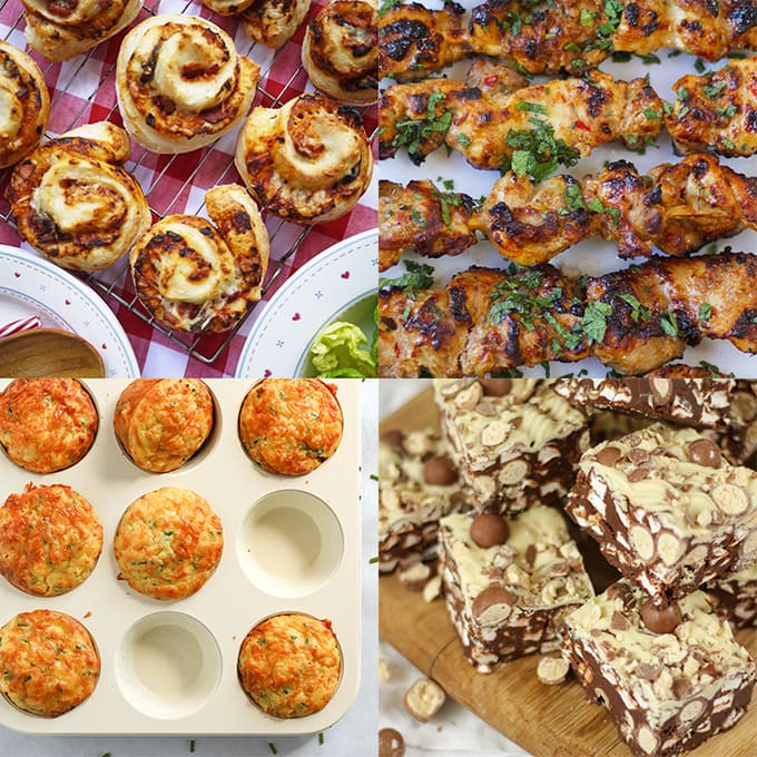 Picnic ideas for kids including muffins, kebabs and pizza