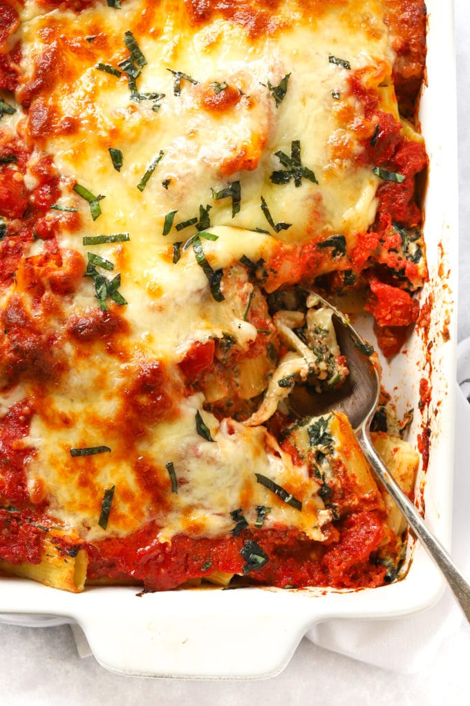 Easy Spinach and Ricotta Pasta Bake recipe with instant tomato sauce