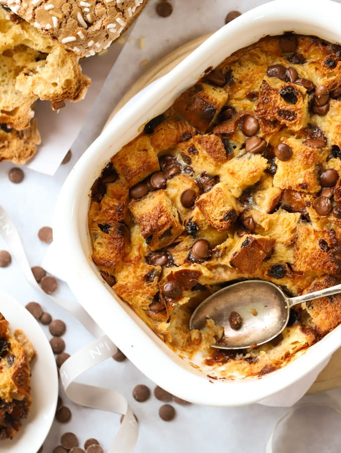 Panettone Bread and Butter pudding with baileys for Christmas dessert with chocolate chips