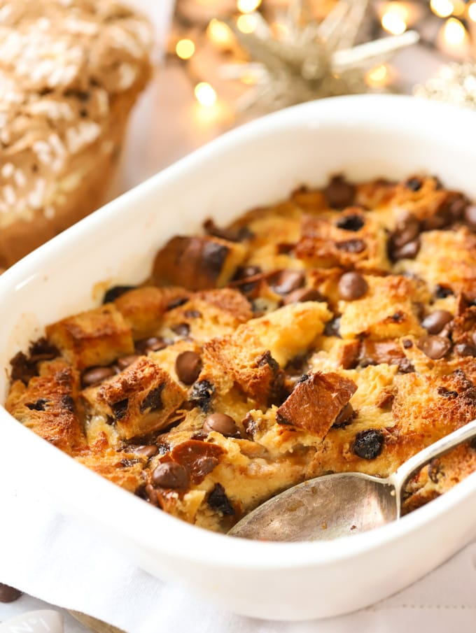 Chocolate chip panettone Christmas bread and butter pudding in a white dish
