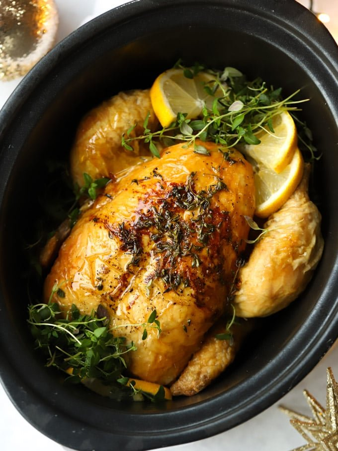 slow cooker roast chicken with lemon and herbs