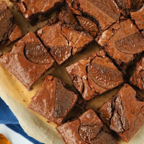 Chocolate orange brownie recipe in squares