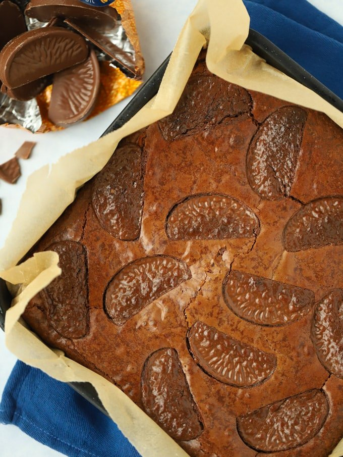 Chocolate Orange Brownies in baking tray with baking paper