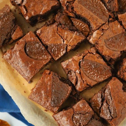Chocolate orange brownie recipe in squares