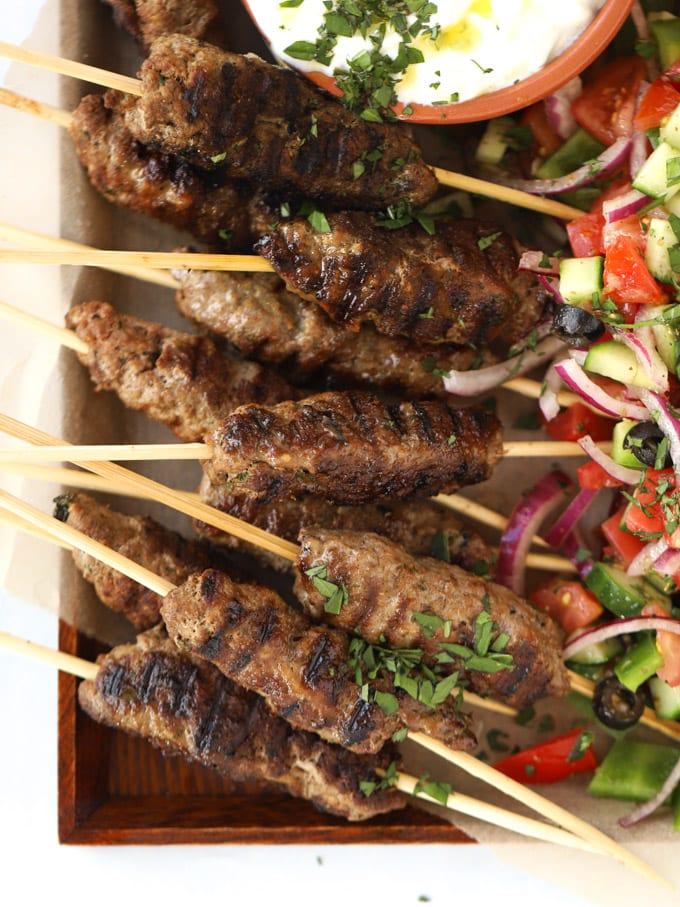 Greek platter recipe with meat mince kebabs and tzatziki