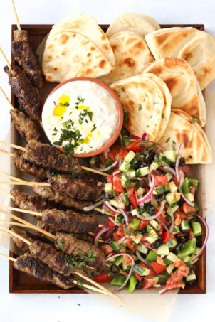 Lamb kofta platter with Greek Salad