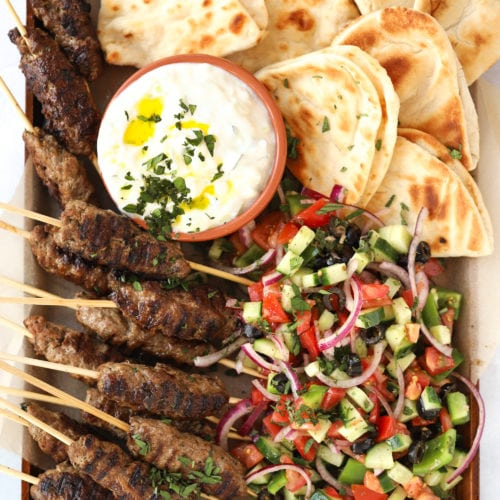Lamb kofta platter with Greek Salad