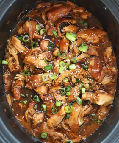 Honey Garlic Chicken Cooked in the Slow Cooker with Sticky Sauce - Easy Dinner recipe