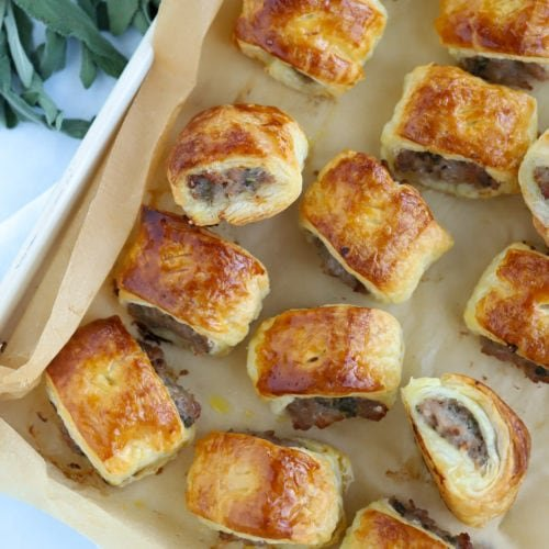 Easy sausage rolls on a baking sheet