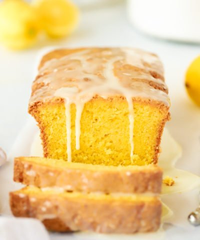 Lemon drizzle cake loaf recipe with runny icing