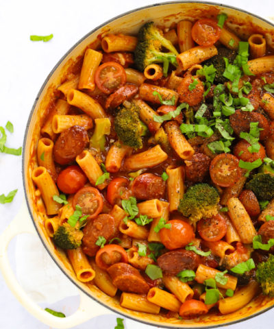 Easy chorizo pasta recipe with broccoli and tomato