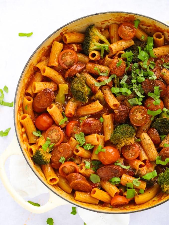 Easy chorizo pasta recipe with broccoli and tomato