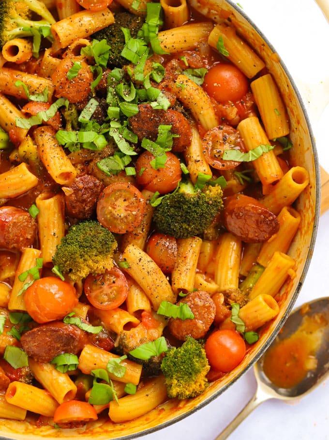 Chorizo pasta with tomato sauce and broccoli