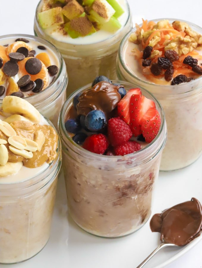 Overnight oats recipe with carrots, strawberries, Nutella, berries and bananas