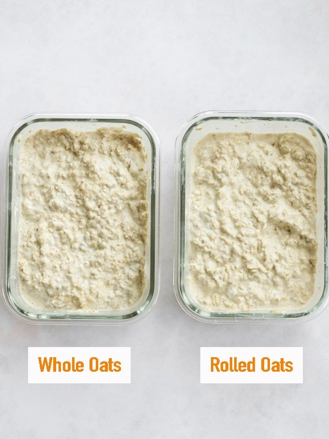 whole oats or jumbo oats in two tubs to show the difference between them